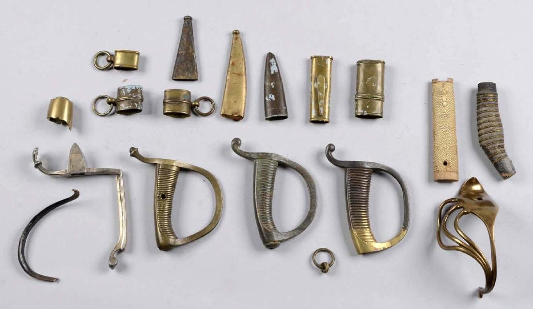 Lot of Assorted Sword and Scabbard Parts.