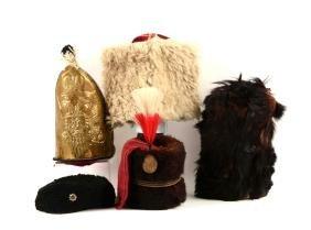 Lot Of 5: Military Caps & Russian Mitre Cap.