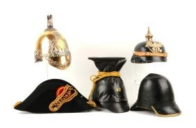 Lot Of 5: Reproduction Military Helmets & BiCorn.