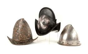 Lot Of 3: Reproduction 16-17th Century Helmets.