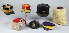 Lot of 7:  Shako, Bear Skin & Reproduction Hats.