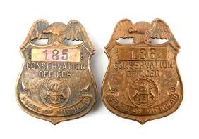 Lot Of 2: Early State Of Michigan Conservation Officer