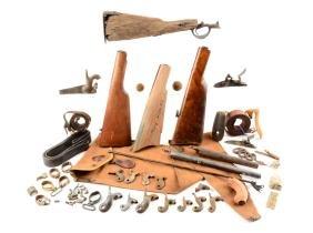 Lot Of 16: Gun Parts, Ammunition, Wooden Stalks & Gun
