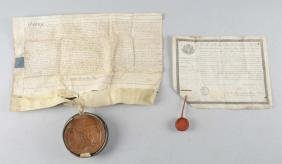 Lot Of 2: French Military Order with Document Wax Seal,
