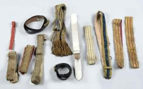 Lot of 12: Military Belts, Buckles, and Sash