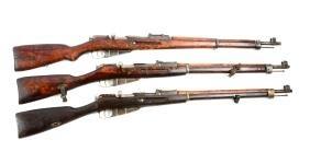 (C) Lot Of 3: Mosin Nagant Bolt Action Rifles.