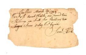 Document:  1789 Receipt of Samuel Hill, Famous Tavern