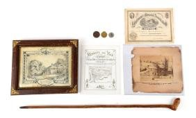 Archive of Valley Forge Centennial Items and Cane.