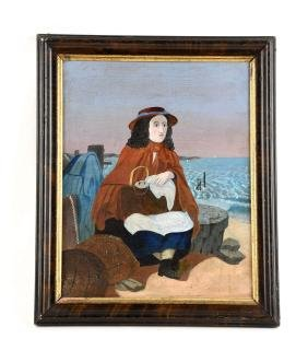 Maritime Painting of a Woman by the Sea.