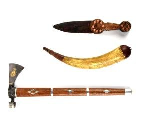Lot Of 3: Contemporary Powder Horn, Indian Knife, and