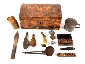 Lot Of Military and Hunting Items in Period Chest.