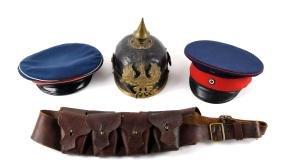 Lot Of 4: WWI Pickelhaube, Hats, & Ammo Bandolier.