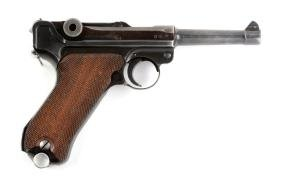 (C) 1937 Dated S42 Code Luger Semi-Automatic Pistol.