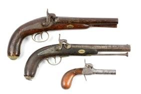 (A) Lot Of 3: Percussion Belgian Pistols.