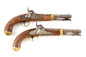 (A) Lot Of 2: Aston U.S. Model 1842 Martial Pistols.
