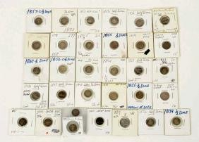 Lot Of 32: Seated Liberty Half Dimes.