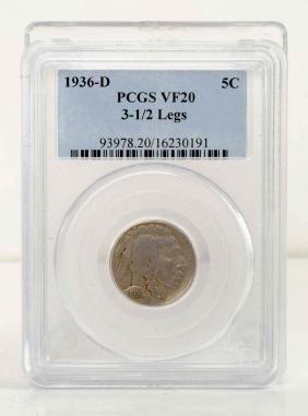 1936-D  3-1/2 Legged Buffalo Nickel.