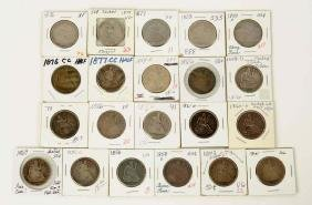 Lot Of 21: Seated Liberty Half Dollars.