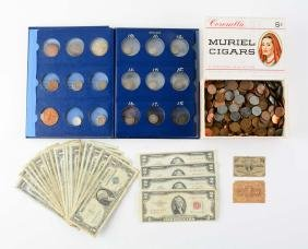 Miscellaneous Lot of Coins & Paper Money.