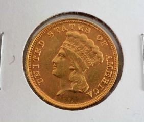 1854 3 Dollar Gold Coin.