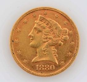 1880 $5 Gold Liberty Coin.