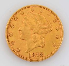 1878 S $20 Gold Liberty Coin.