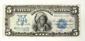 1899 Indian 5$ Silver Certificate.