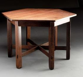 Stickley Brothers Hexagonal Table with Through Tenons.