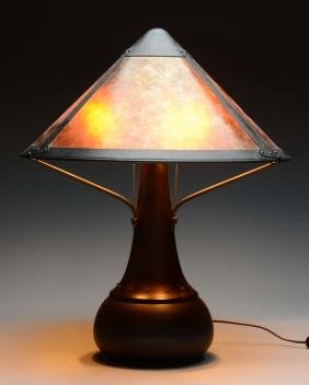 Arts & Crafts Style Mica Lamp Co. Lamp.