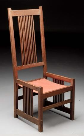Gustav Stickley Tall Back Spindle Chair No. 374.