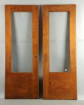 Pair of Quarter Sawn Oak Mission Oak Doors w/ Glass