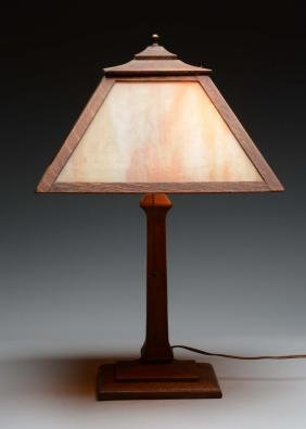 Mission Arts & Crafts Lamp with Brown Slag Glass Shade.