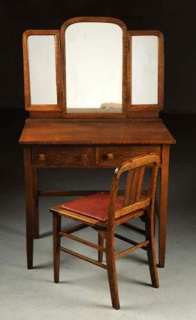 Arts & Crafts Vanity with Folding Mirrors & Chair.