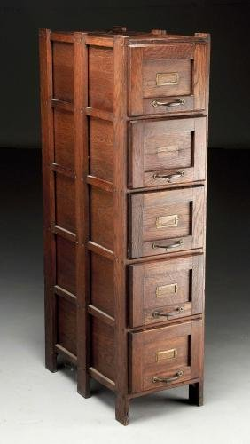 Mission Oak Five Drawer Filing Cabinet.