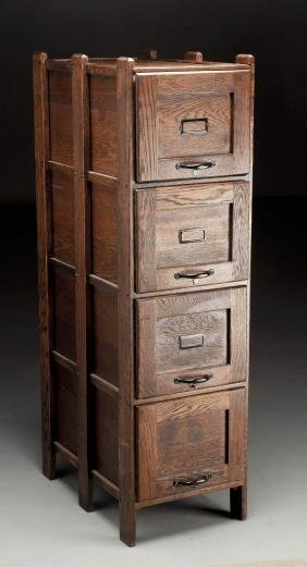 Mission Oak Four Drawer Filing Cabinet.