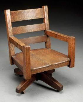 Mission Rolling Office Armchair w/ Carved Saddle Seat.