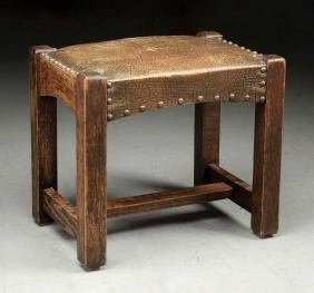 Arts & Crafts Arched Footstool w/ Stretcher.