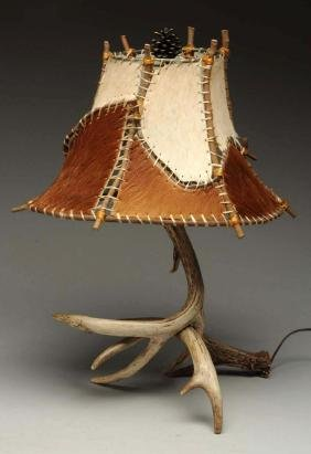 Horn Lamp With Raw Hide Shade.