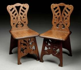 Pair of Carved Oak Chairs w/ Cutouts.