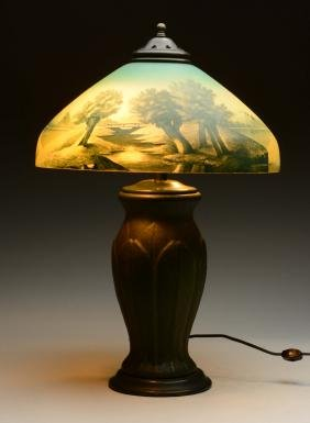Pottery Based Lamp with Reverse on Glass Shade.