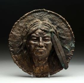 Bronze Metal Indian Head Plaque.
