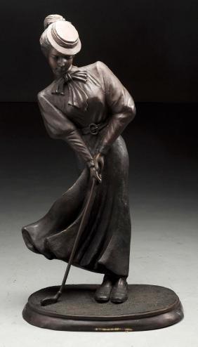 Bronze Female Golfer Statue.