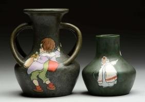 Lot Of 2: Teplitz Green Vases