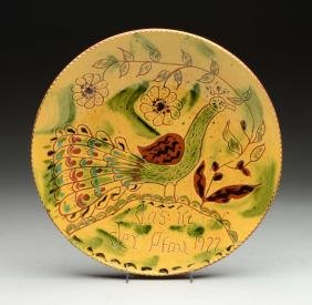 Breininger Redware Pottery Plate w/ Peacock.