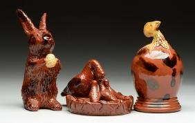 Lot Of 3: Breininger Redware Pottery Figures.