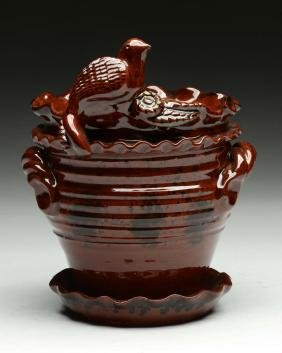 Foltz Redware Pottery Flower Pot.