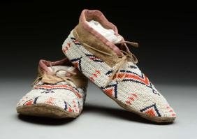 Pair of Beaded Native American Shoes.