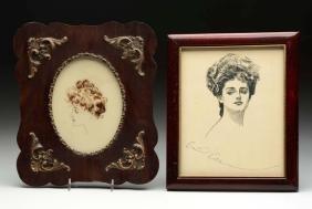 Lot Of 2: Framed Gibson Girl Prints.