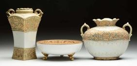Lot Of 3: Decorative Vases and Bowl With Gold Trim.