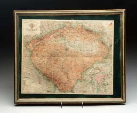 Framed Colored Map Of Bohemia.